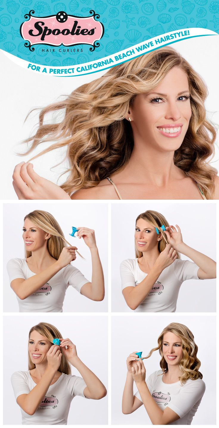 4 easy steps to trendy and popular no heat, no damage wavy hair! Forget chemicals or curling irons use Spoolies hair curlers!!!