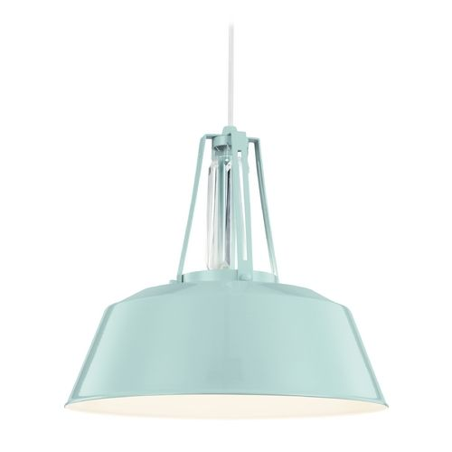 Feiss Lighting Freemont Hi Gloss Blue Pendant Light with Bowl / Dome Shade at Destination Lighting