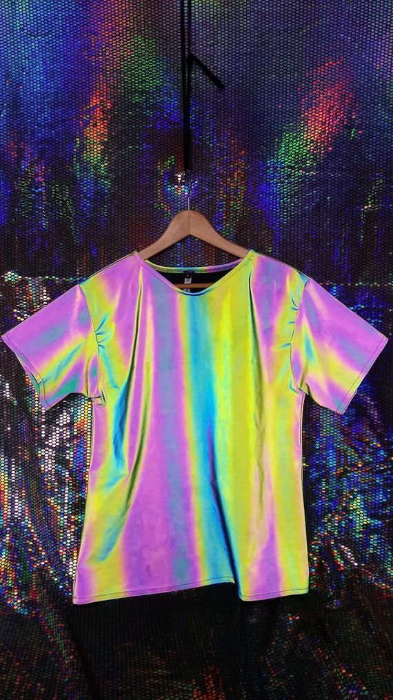 Reflective iridescent Festival Crop Top tank top extraterrestrial super visual X Ray unicorn