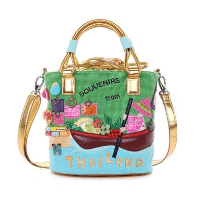 Fashion #Handbags #Braccialini #ItalianStyle Postcard to wear #Thailand! Braccialini has created a collection of bags, made up of 8 pieces really spectacular. Each of them, is a country in the world: Australia, Cuba, Mexico, Provence, Russia, Sicily, Switzerland and Thailand.