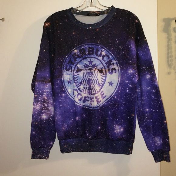 Starbucks galaxy sweatshirt Very cool and trendy Starbucks Galaxy sweatshirt, only worn once and in excellent condition! Not from hot topic but from a similar store Hot Topic Sweaters Crew & Scoop Necks