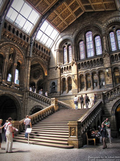 London-UK. The Natural History Museum is one of three large museums on Exhibition Road, South Kensington, London, England (the others are the Science Museum, and the Victoria and Albert Museum). Its main frontage is on Cromwell Road. The museum is an exempt charity, and a non-departmental public body sponsored by the Department for Culture, Media and Sport. #London #UK