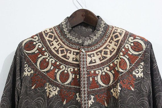 Body Fit Cutting Handmade Mens Kaftan Aztec Embroidery by syahdika