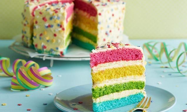 Regnbuekake - oppskrift på norsk med vaniljekrem