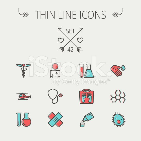 Medicine thin line icon set royalty-free stock vector art
