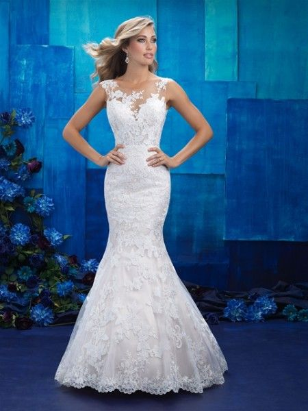 70467b3346801 016245   Allure Bridals   Wedding dress necklines, Illusion neckline wedding  dress, Bridal dresses