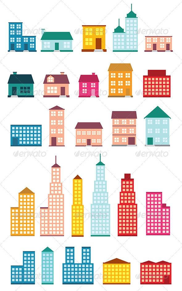 Flat Style House Icons - Buildings Objects