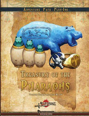 Treasury of the Pharaohs is a collection of Egyptian-themed magic items for the Pathfinder game. #RPG