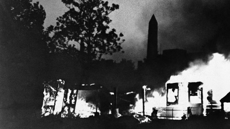 In 1932, a group of WWI veterans in Portland, Ore., rallied the Bonus Army to Washington to lobby for early payment of their promised bonuses. They set up camp along the Anacostia River that May. But by July, officials lost patience and went into the camp to evict the marchers. It turned violent. A soldier torched a tent, and the Army began torching everything still standing.