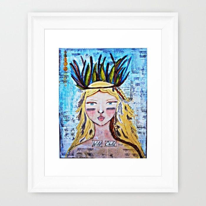 Handmade original: Wild Child Framed Art Print