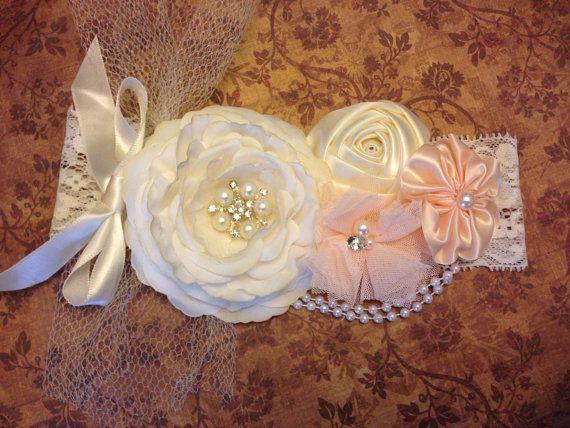 Vintage inspired Ivory silk satin lace headbandnettingpeach