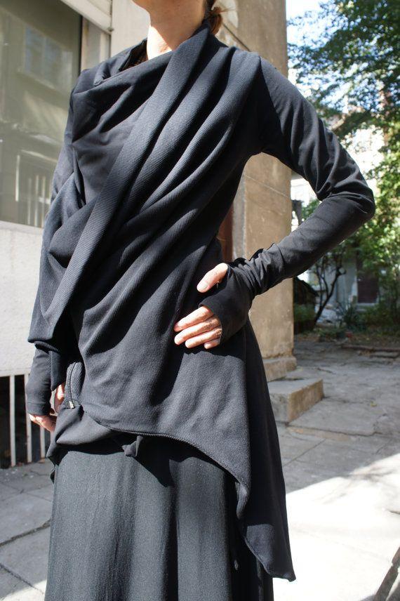 Spring Black Coat / Cotton Coat / Extravagant Asymmetrical