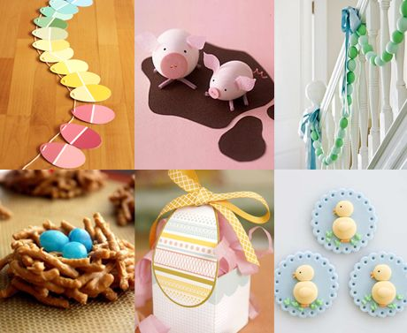 A lot of Easter decorations are a little too pastel-y for me, but I do love the paint-chip easter egg garland! Very clever.