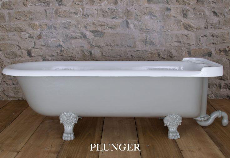 Original Plunger cast iron antique bath painted in Pigeon