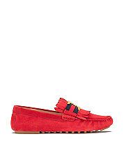Nantucket Red Tory Burch Gemini Link Suede Driver