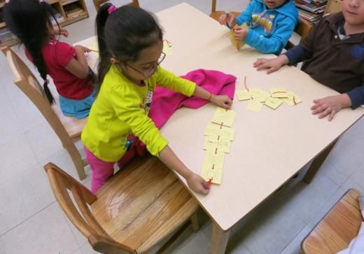 ...Pre-kindergarten TIC students at South Bronx Headstart making trout food chains.