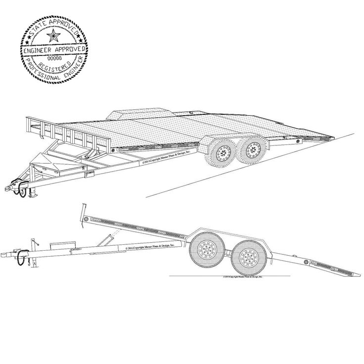 19' x 82″ Hydraulic Car Hauler Trailer Plans Blueprints– Model 18HT