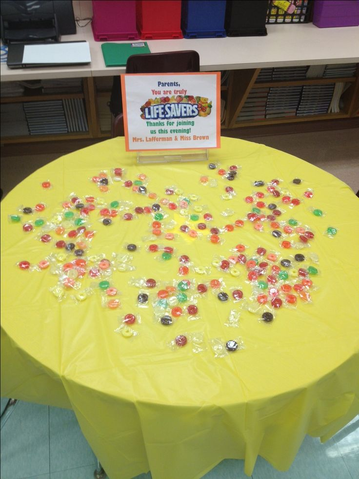 """""""Back to School Night"""" treats for parents... """"Thanks for being lifesavers and for joining us tonight."""""""