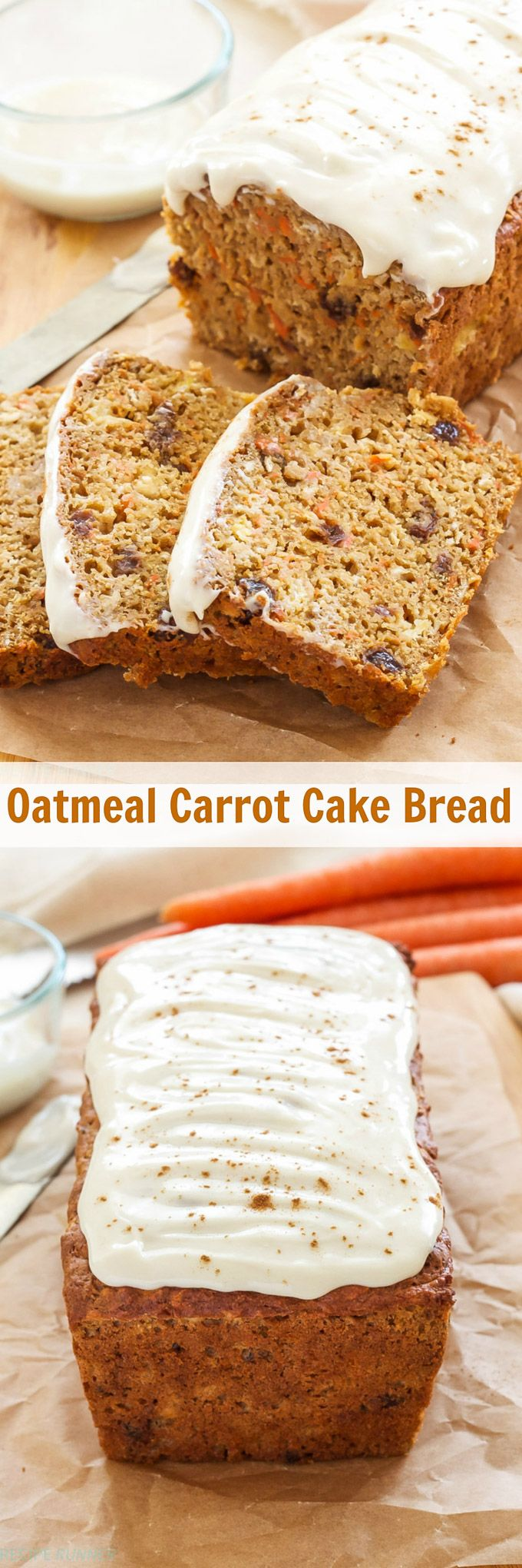 Oatmeal Carrot Cake Bread | 100% whole grain, no butter or oil and loaded with carrots, pineapple and raisins! This Oatmeal Carrot Cake Bread is perfect for brunch or dessert!