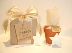 Kit con maceta, semillas y formitas de papel plantable