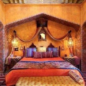 Amazing Moroccan Themed Bedroom With Lanterns And Canopy And Small Ornate Mirror And Exotic Fabrics And Bench And Rug , Exotic Moroccan Themed Bedroom In Bedroom Category