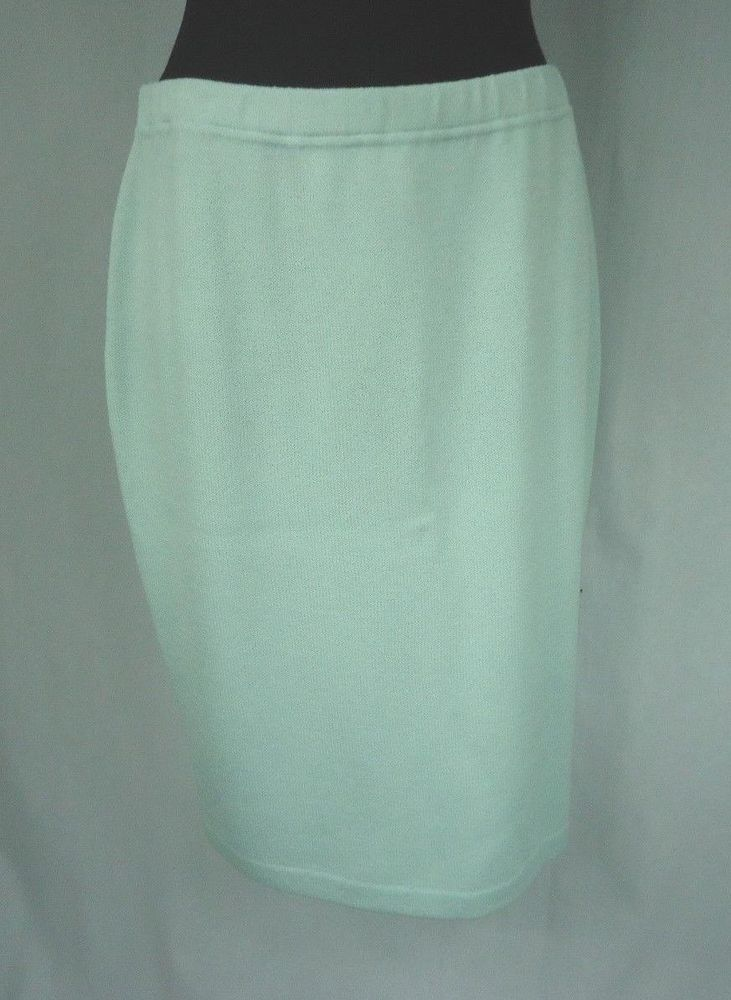 ST JOHN EVENINGS Skirt Size 12 Knit Pale Aqua Blue Wear To Work #StJohn #StretchKnit