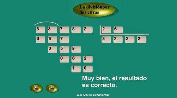 """""""La división por dos cifras"""", de José Antonio del Olmo Vián, es una sencilla y eficaz aplicación para el aprendizaje del algoritmo de la división por 2 cifras. Reproduce el procedimiento convencional y, si te equivocas, te ayuda: no te deja escribir la cifra hasta que escribas la correcta."""