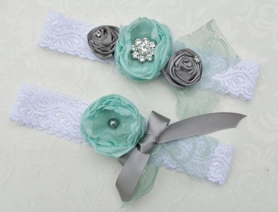 Shabby Chic Wedding Garter and Toss/ Vintage Style Garter with Rhinestones / Toss Included Silver Mint. $24.99, via Etsy.