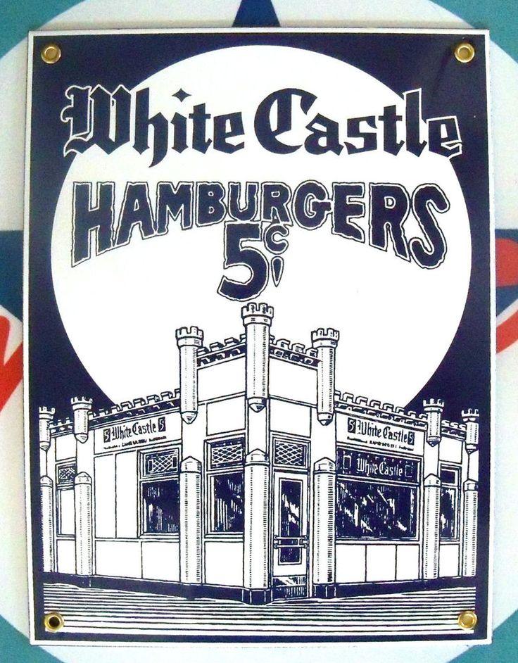 classic WHITE CASTLE restaurant - PORCELAIN COATED METAL SIGN
