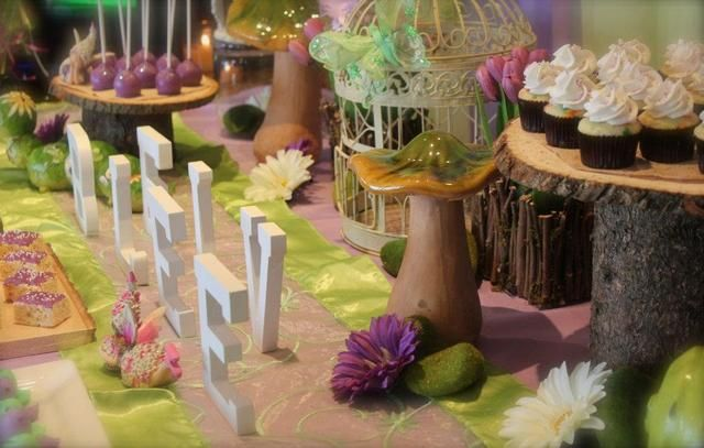 Fairy Garden Party - love the wood pedestal serving piece!