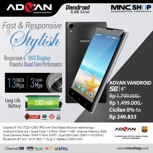 Advan Vandroid S6. Layar 6 inchi dengan RAM 1GB. Semakin puas menonton video dan main game.  Harga MNC Shop : Rp.1.499.000 Pemesanan 1500 887 #Vandroid #advan #handphone #technology