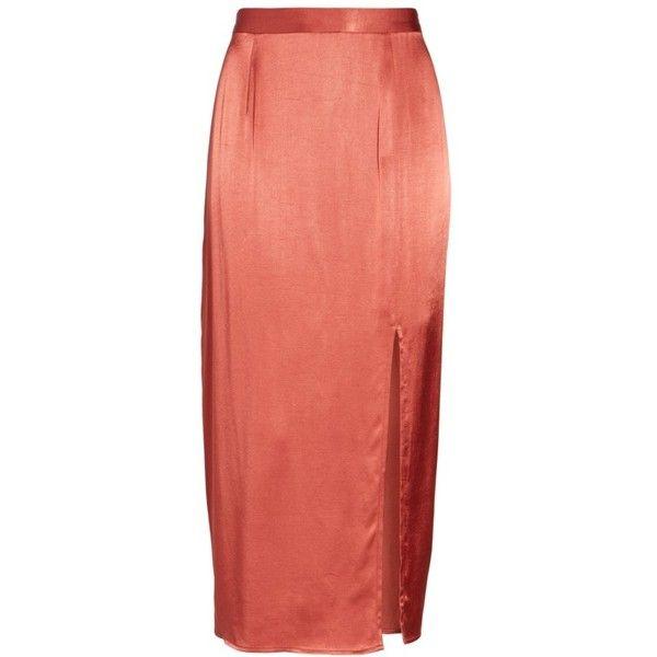 Women's Wayf Brady Satin Midi Skirt ($69) ❤ liked on Polyvore featuring skirts, cinnamon, satin midi skirt, red midi skirt, satin skirt, red knee length skirt and mid-calf skirts