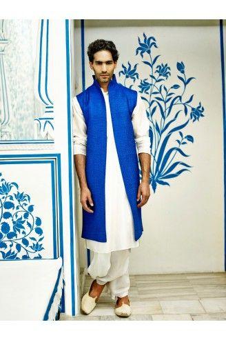Embroidery textured sherwani with silk kurta & dhoti