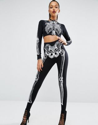 Missguided - Leggings con scheletro per Halloween