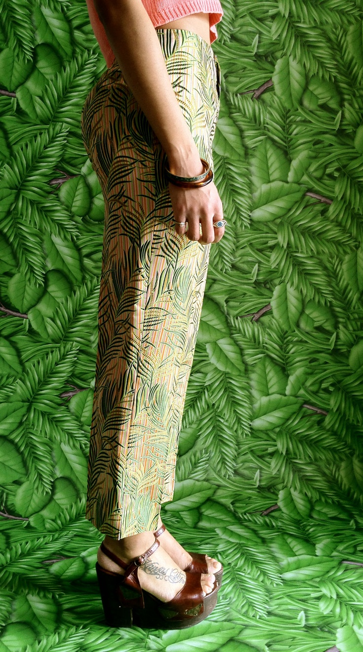 Vtg 90s Tailored Silk, Tropical Striped Fern Leaf, Plant Print Trousers / Shiny Tropical Dress Pants. $48.00, via Etsy.