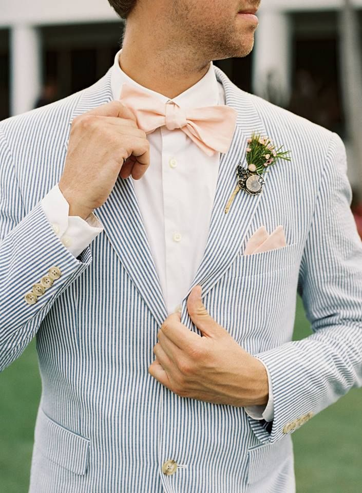 Alix & Dodd - photo by Kat Braham.   Gorgeous wedding at The Club at Admiral's Cove Seersucker groomsmen suits with peach bowties - love the bouts! Elle & Jae Blog - Elle & Jae - Unique Bridal Accessories for Modern Brides and Everyday