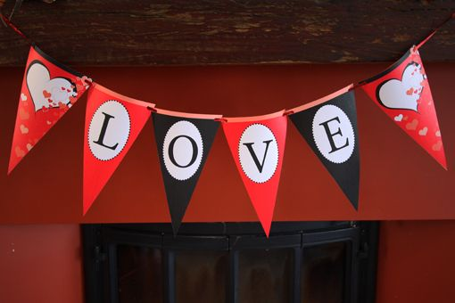 Valentines Day printable PDF's - Bunting flag
