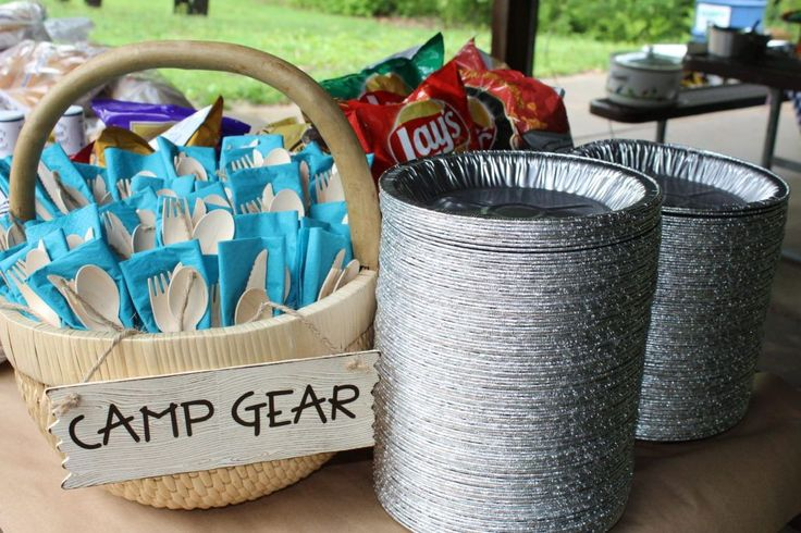 """Camping Birthday Party Ideas - love the idea of pie plates as plates and """"Camp Gear"""" for Utensils!"""