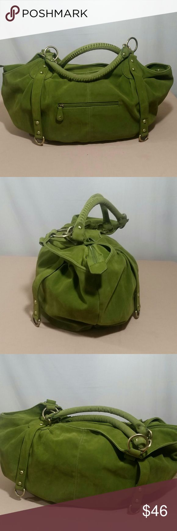 """BIG BUDDHA Green Green Shoulder Bag Beautiful BIG BUDDHA green Shoulder Bag.  This roomy bag has an apple green interior,  with a zippered pocket and two additional compartments.  This beautiful,  stylish BIG BUDDHA Shoulder Bag is in excellent condition. Measurements : Strap Drop :  11 12"""" Length :  18"""" Height :  13"""" Width :  7"""" Big Buddha Bags Shoulder Bags"""