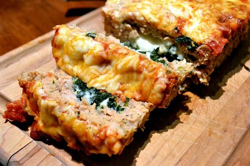 Mozzarella and Spinach Stuffed Chicken Meatloaf...serve with Pasta ...