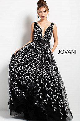 a823aa4ea5d2 jovani Black and White Plunging Neckline A line Dress 55704. Navy multi long  sleeve ...