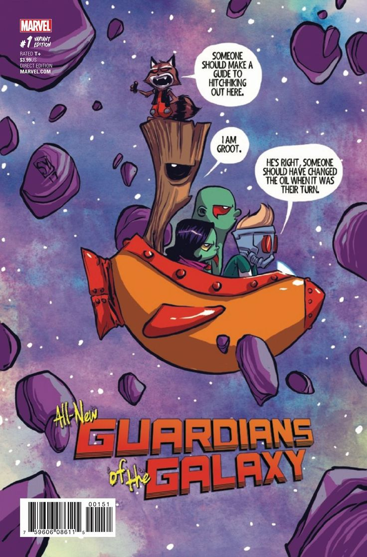 All New Guardians of the Galaxy #1 variant cover by Skottie Young *