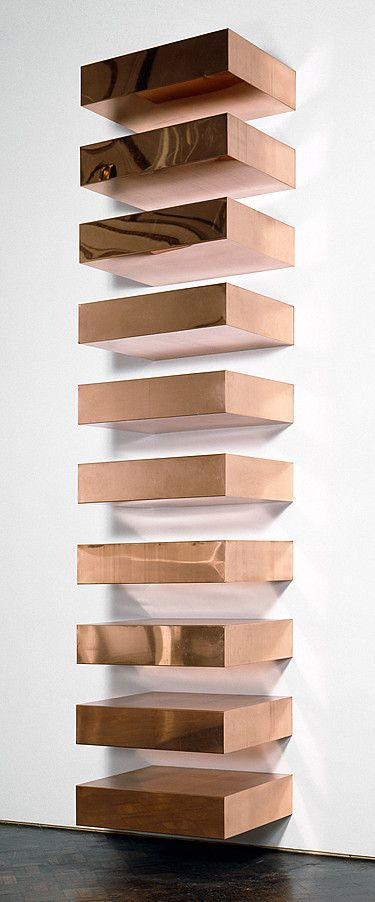 Donald Judd, Untitled, 1969, Copper, ten units with 9-inch intervals, 9 x 40 x 31 inches (22.9 x 101.6 x 78.7 cm) each; 180 x 40 x 31 inches (457.2 x 101.6 x 78.7 cm) overall