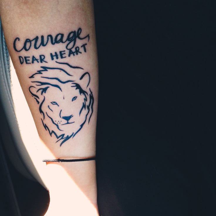 Courage, Dear Heart Quote + Aslan Tattoo.