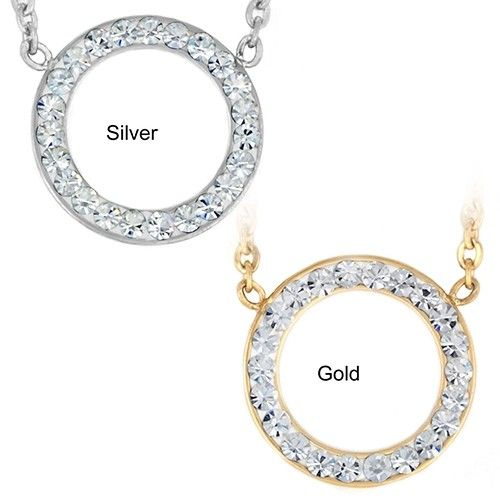 Stainless Steel Crystal Open Circle Pendant Necklace - 2 Styles - $10.00