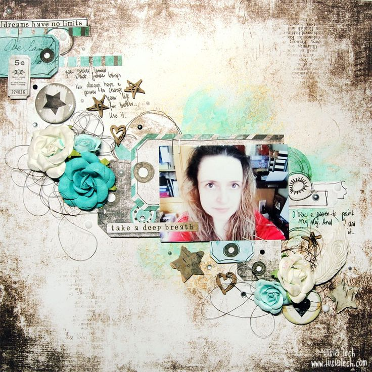 November 2016 layout for Mixed Media Place by Tusia Lech (with 7 Dots Studio, UmWowStudio and Finnabair products)