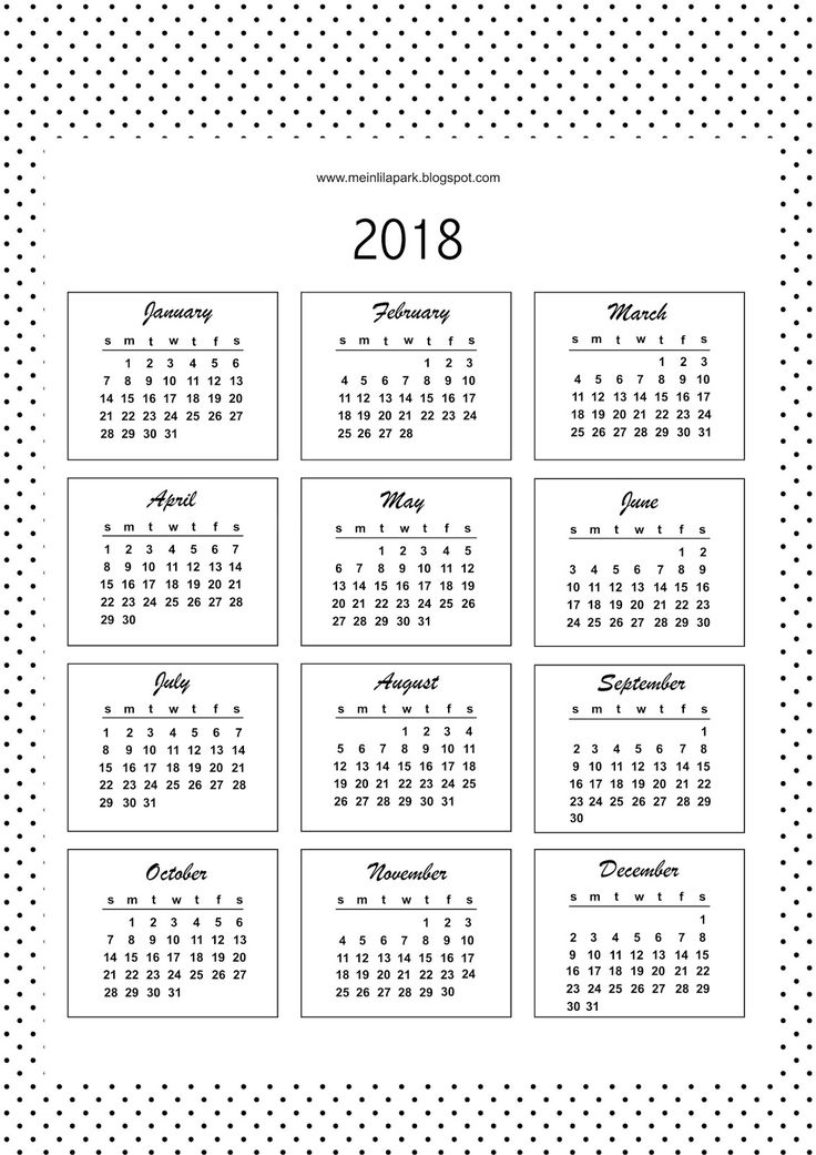 FREE printable bullet journal calendar cards 2018