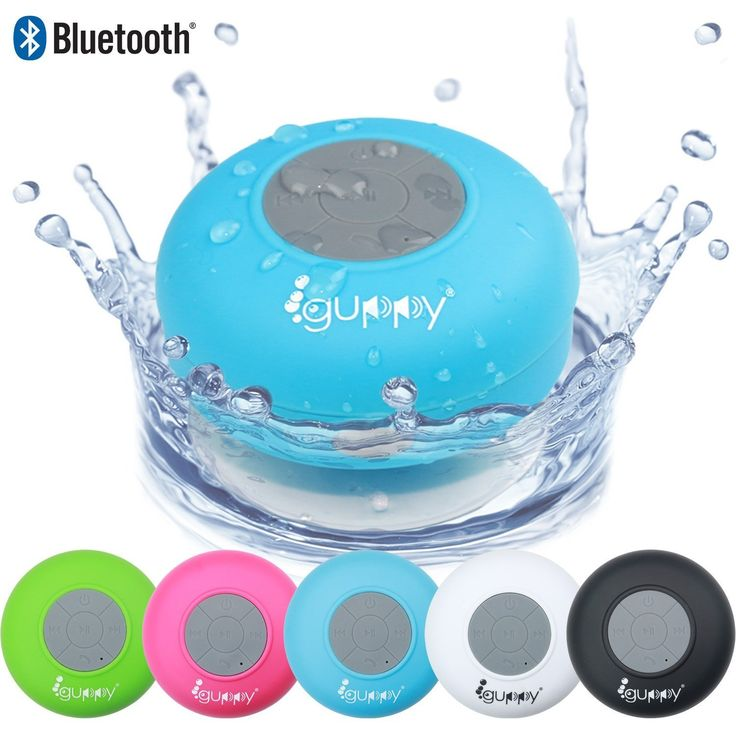Guppy Water Resistant Bluetooth Shower Speaker - Wireless Portable, Kid-friendly, Built-in Control Buttons, Speakerphone, Powerful Suction Cup, Safety Lanyard - Best for Indoor & Outdoor Use (Blue)