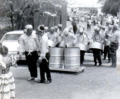 """1966... Aruba... Carnival. Steel Pan music ...in the Bahamas we called them """" kettle drums """"..awesome sound"""