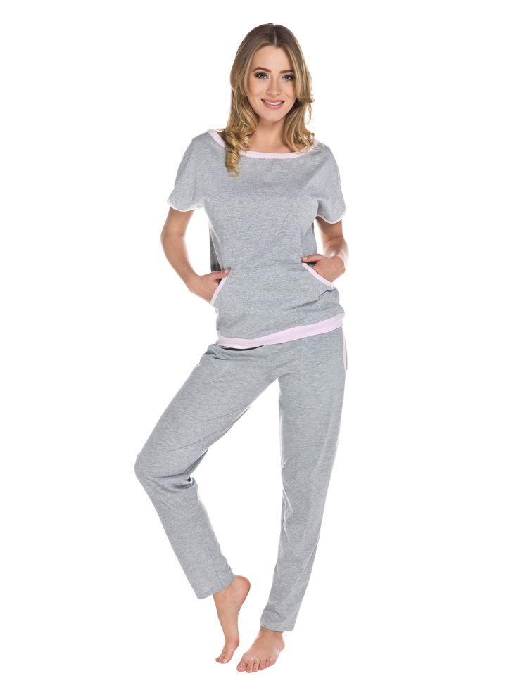 Piżama damska szaro - różowa ABBA